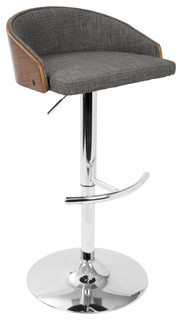 Alena Mid Century Modern Adjustable Bar Stool Walnut and Gray
