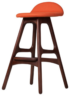 Midcentury Danish Teak Counter Stool Orange
