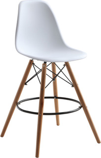 Woodleg Counter Chair Round Base White