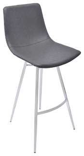 Athens Metal Vintage Style Gray Stool Brushed Stainless Steel Vintage Gray