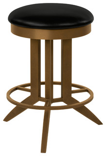 Cambridge 26 Backless Swivel Barstool Black Faux Leather Copper Bisque