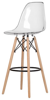Plastic Bar Stool With Wood Base Clear