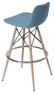 Pera MW Counter Stool Natural Veneer Steel Sky Blue Wool