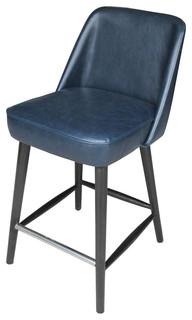 Counter Stool Leather Navy Blue
