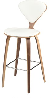 Satine Counter Stool With Upholstered Seat and Back White Leather Walnut