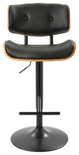 Andrei Mid Century Adjustable Bar Stool With Back Walnut and Black