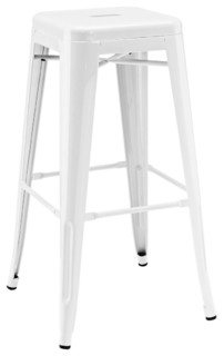 Amalfi Stackable Glossy White Steel Bar Stools Set of 4