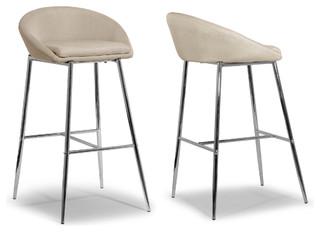Agatha Modern Cream Fabric Bar Stools With Chrome Frame Set of 2