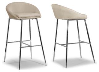 Agatha Modern Cream Fabric Bar Stools With Chrome Frame Set of 2