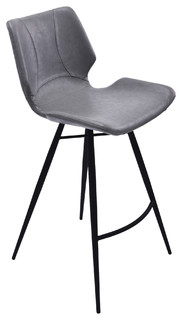 Zurich Metal Stool matte Black Metal and Vintage Style Gray Bar Height