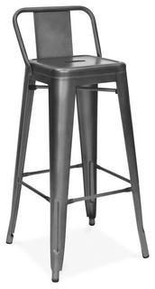 Dreux Dark Gunmetal Steel Low Back Bar Stools 30 quot Set of 4