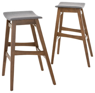 Oster Bar Stools Set of 2 Gray and Walnut