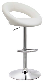 Cooper White Faux Leather Adjustable Bar Stool