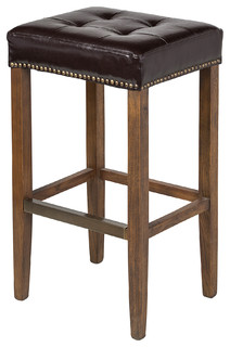 Ash Leather Stool Bar Height