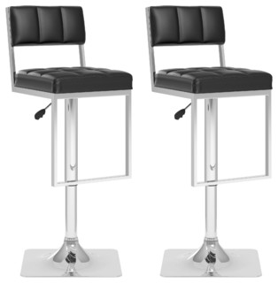 Square Tufted Adjustable Barstool Black Leatherette Set of 2