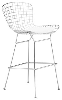 Wire Counter Stool Chrome White Seat Pad