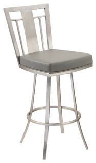 Cleo 30 quot Modern Swivel Bar Stool Stainless Steel Gray
