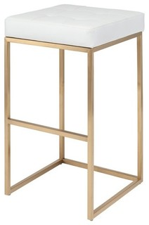 Chi Bar Stool 29 75 in Brushed Gold Stainless Steel Frame White