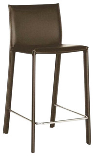 Durable Bonded Leather Counter Stool Brown