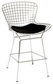 Modern Chrome Wire Counter Stool With Seat Pad