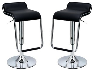 Horatio Bar Stools With Footrest Set of 2 Black