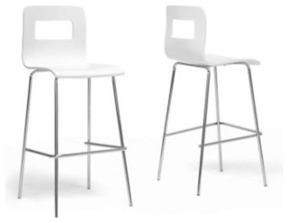 Greta White Modern Bar Stools Set of 2