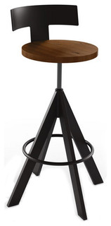 Adjustable Wooden Swivel Stool With Backrest