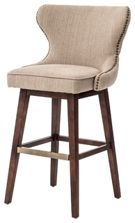Imani Modern Classic Beige Spoon Back Swivel Bar Stool