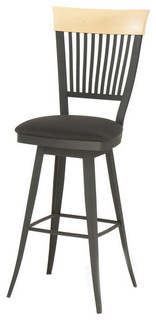 Swivel Stool With Wood Stripped Backrest Counter Height 26