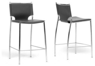 Montclare Black Leather Modern Counter Stools Set of 2