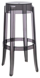 Charles Ghost Stools 30 quot Transparent Smoke Gray Set of 2