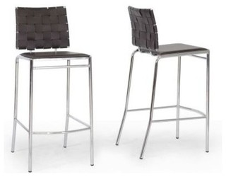 Vittoria Modern Leather Bar Stool Set of 2 Brown