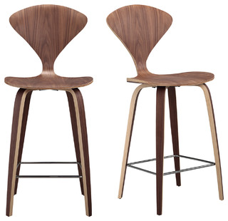 Manta Modern Walnut Wood Bar Stools Set of 2