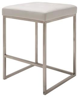 Upholstered Counter Stool White