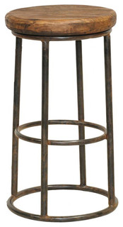 Reclaimed Wood Iron Barstool