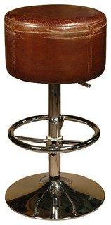 Jeanne Rustic Retro Distressed Top Grain Leather Brown Barstool