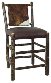 24 quot Hickory Bar Stool With Upholstered Back and Seat Distressed Cow Hide