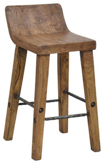 Teak Wood and Iron Counter Stool