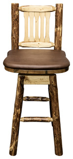 Glacier Country Collection Bar Stool Back and Swivel Saddle Pattern