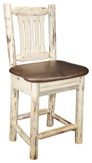 Montana Counter Height Bar Stool With Back Saddle Upholstery Ready to Finish