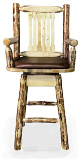Glacier Country Collection Captain x27 s Bar Stool Back and Swivel Saddle Pattern