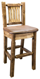 Bar Stool With Back Clear Lacquer Finish Upholstered Seat Saddle Pattern