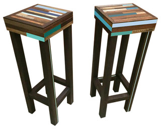 Handcrafted Staggered Wood Pub Table Bar Stools Ocean Blues