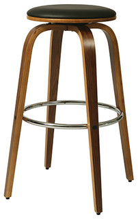 Yohkoh Backless Counterstool Chrome Walnut Veneer