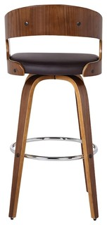 Armen Living Shelly 26 quot Counter Height Barstool Walnut Brown