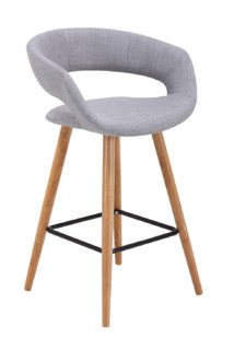 Contemporary Dark Grey Fabric Seating With Wood Legs