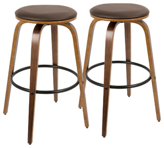 Porto Mid Century Modern 30 quot Swivel Barstool Walnut Wood and Brown PU Set of 2