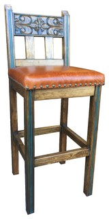 Spanish Colonial Bar Stool With Leather Bar Height