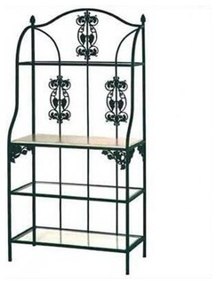 36 quot Vineyard Bakers Rack Walnut Wood and Glass Shelves Gun Metal