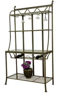 Hand Painted Bronze Bakers Rack With Tempered Glass Shelves DARCY BR